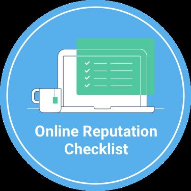 "A headline stating ""Online Reputation Checklist"" underneath a computer screen showing a checklist"